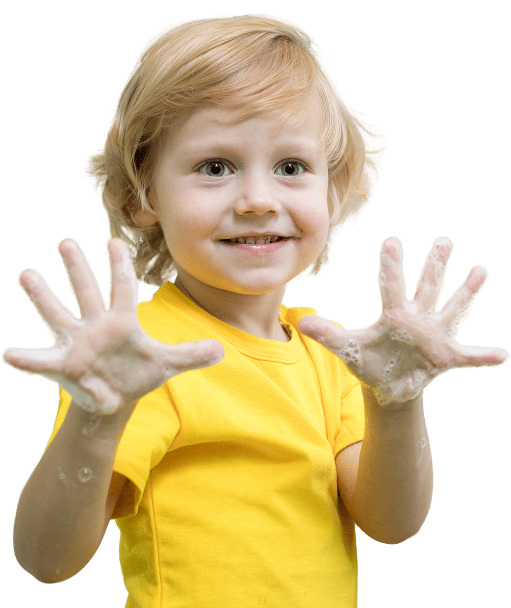 Kid hand washing at drop-in childcare center serving Washington and Texas