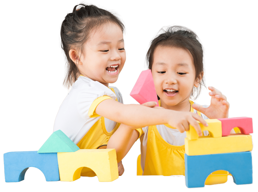 2 kids playing at drop-in childcare center serving Washington and Texas